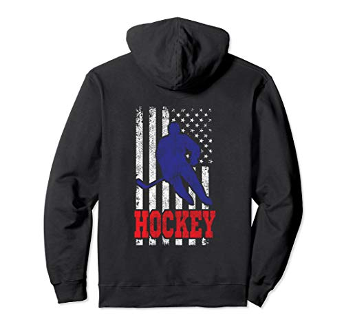 American Flag Hockey Player US Flag Ice Hockey Pullover Hoodie