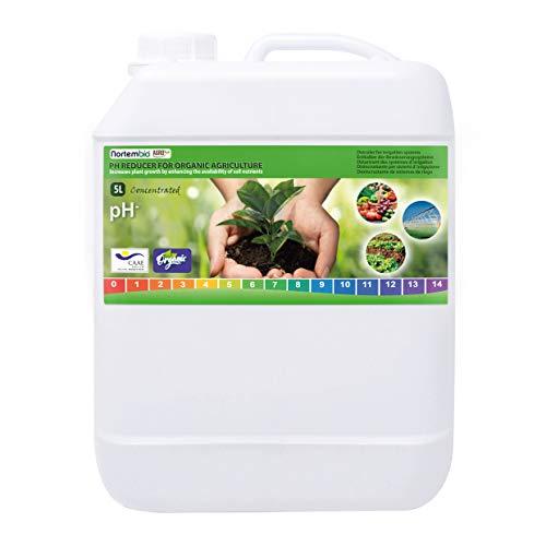 NortemBio Agro Biologisch pH-Verlagend Vloeistof 5 L. Universeel. Ontkalker voor Irrigatiesysteem. Gewassen met een Betere Smaak en Aroma.