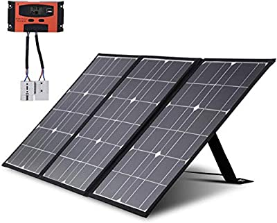Solar Panels Portable Camping Solar Battery Charger 12 Volt Ultra Thin Foldable 1.25KG with 10A Controller Kickstand Extension Cord DIY for Outdoors Emergency Phone RV Caravan Motorhome Rallies 50W