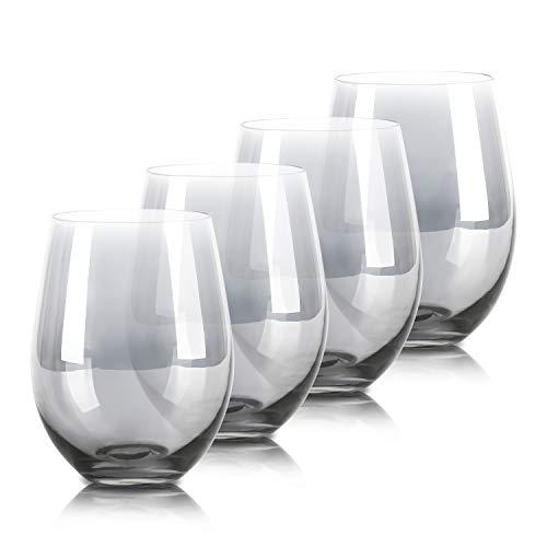 drinking glass for wine beers Grey Drinking Glasses, Beasea 18.6oz Cocktail Glasses Set of 4, Beverage Glass Beer Wine Glasses Beverage Tumbler for Water Juice Beer Wine