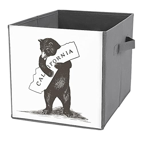 Caja de almacenamiento plegable, organizador de tela con asas para guardar espacio en casa, oficina, guardería, estantes, I Love You California