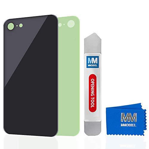MMOBIEL Parte di Ricambio della Copertura Posteriore della Batteria in Vetro Compatibile con iPhone SE 2020/8 4.7 inch (Nero) Adesivo preinstallato