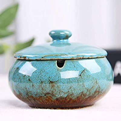 Handmade Ceramic Ashtray with Lids,Desktop Ash Tray for Office Decoration,Windproof Ashtray,Cigarette Ashtray for Outdoor Use?Ash Holder for Smokers - Best Gift Idea (Blue)