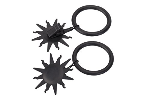 Gardinenring/Ring mit Dekoklammer Sonne, schwarz, Set 10 Stück