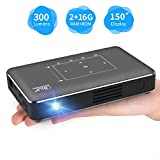 Portable Mini Projector, Haidiscool Pocket Video DLP Pico Projector 300 ANSI Lumen with WiFi, USB, HDMI, Support iPhone, Android, Laptop, PC, 1080P Movie, for Home Theater/Small Business Presentation
