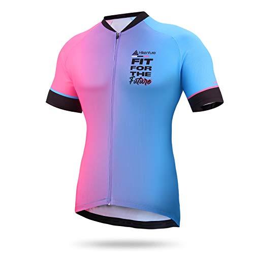 HIKENTURE - Maglia da ciclismo da uomo per bici da corsa, colorata, MTB, maglietta a maniche corte da uomo, per bici da corsa, mountain bike, uomo blu e rosa. S
