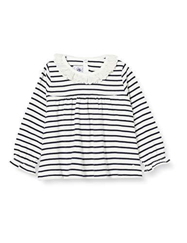 Petit Bateau Bluse Langarm Baby Mädchen Gr. 80, Marshmallow/Smoking