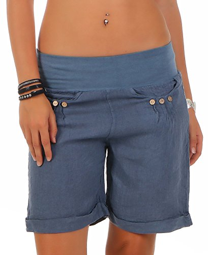 malito more than fashion Malito Damen Bermuda aus Leinen   lässige Kurze Hose   Shorts für den Strand   Pants - Hotpants 6822 (Jeansblau, M)