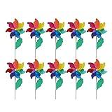 B Blesiya 10 Stücke Bunte Windspiel Rainbow Windrad Windmühle für Kinder