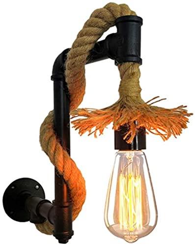 DZCGTP Luces de Pared industriales Vintage Cuerda de cáñamo Tubería de Agua Lámpara de Pared E27 Enchufe de lámpara Retro Decoración de Arte para el hogar Aplique de Pared Accesorios Iluminación