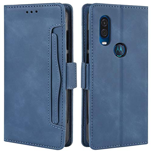 HualuBro Handyhülle für Motorola One Vision Hülle Leder, Flip Hülle Cover Klapphülle Handytasche Schutzhülle für Motorola Moto One Vision Tasche (Blau)