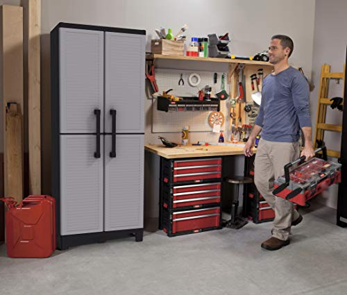 Keter Storage Cabinet with Doors and Shelves - Perfect for Garage and Basement Organization, Grey, 12 Sq Ft