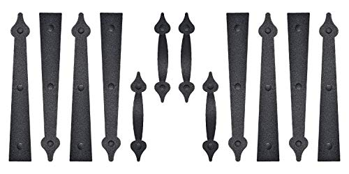 2 Pack/Set Garage Door Magnetic Decorative Hardware Carriage Accents Faux Hinges Handle Kit Curb Appeal DecorColor Black