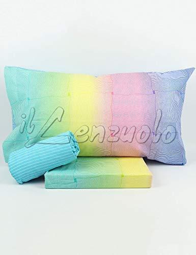 Lenzuola matrimoniali completo Bassetti Dream INDI in cotone variante Multicolor