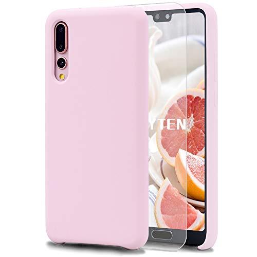 Feyten Cover Huawei P20 PRO [con Vetro Temperato], Custodia Gomma Gel Silicio Liquido con Fodera Microfibra Morbida Caso Silicone Sottile Protettiva Cover (Rosa Chiaro)