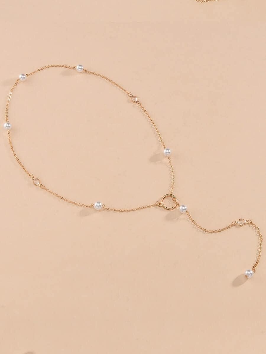AXJTNL Necklace Pendant Faux Pearl Decor Y-Lariat Necklace (Color : Gold)