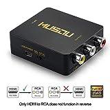 Musou HDMI a AV Convertidor,HDMI a RCA Convertidor Compuesto RCA CVBS Señal Audio y Vídeo Adaptador Soporte PAL/NTSC Interruptor Full HD 3D 1080P