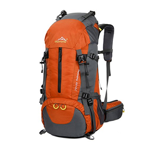 WoneNice 50L(45+5) Waterproof Hiking Backpack - Outdoor Sport Daypack with Rain Cover (Orange)