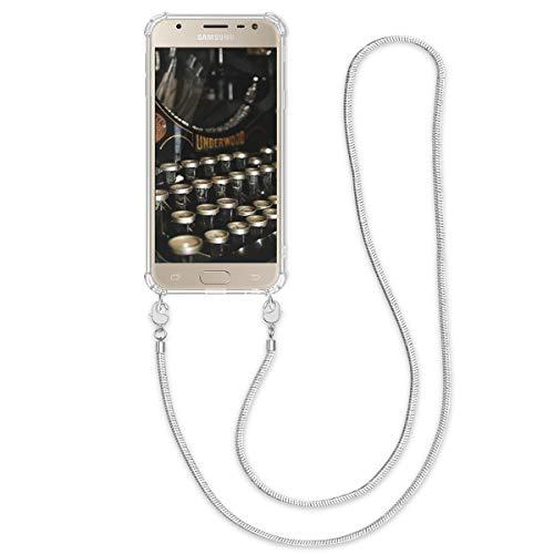 kwmobile Samsung Galaxy J3 (2017) DUOS Hülle - Handykette Silikon Handyhülle Case für Samsung Galaxy J3 (2017) DUOS - Transparent Silber - mit Metallkette