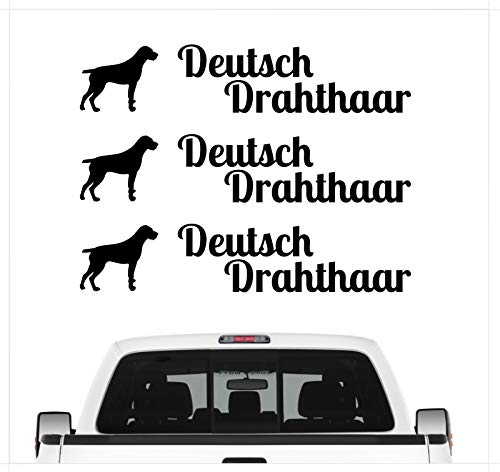 Siviwonder Deutsch Drahthaar DD Pointer - 3er Set Auto Aufkleber Autoaufkleber Hundemotiv Hundeaufkleber autoaufkleber Hund Folie Aufkleber schwarz