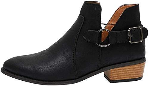 Minetom Damen Schlupfstiefel Elegant Kurz Stiefel Herbst Stiefeletten Frauen Mode PU Leder Flache Schuhe Schnalle Ankle Boot Booties Schwarz 40 EU