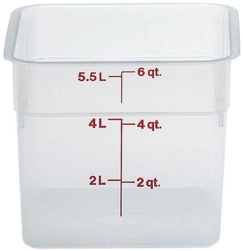 Cambro 6SFSPP190 CamSquare Storage Container, Translucent, 6 qt.