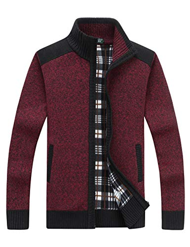 Yeokou Men's Casual Slim Full Zip Thick Knitted Cardigan Sweaters with Pockets (Medium, Z-12-Wine Red)