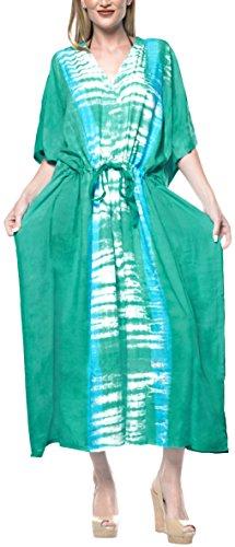 LA LEELA Mujeres Caftán Rayón túnica Tie Dye Kimono Libre tamaño Largo Maxi Vestido de Fiesta para Loungewear Vacaciones Ropa de Dormir Playa Todos los días Cubrir Vestidos Verde_B761