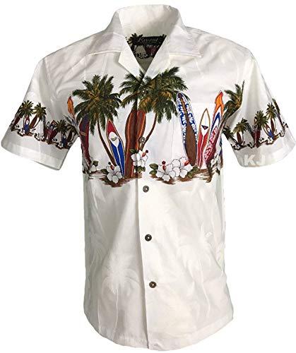 Favant Tropical Luau Beach Surfboard Print Men's Hawaiian Aloha Shirt (Medium, White)