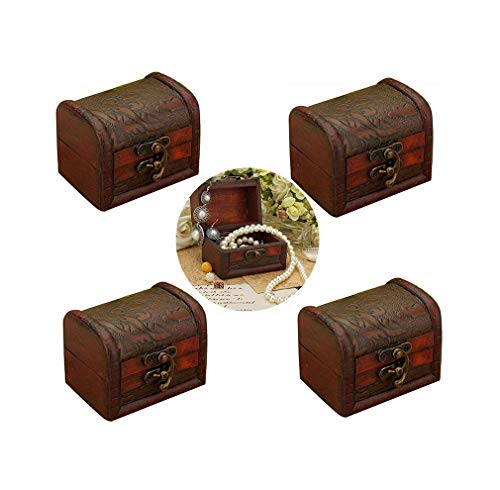 Hofumix Jewelry Box Little Treasure Chest Vintage Handmade Box Wooden Rings Case Box with Mini Metal Lock for Storing Jewelry Treasure Pearl 4Pcs Random Styles