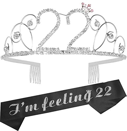 22nd Birthday Gifts for Girls, 22nd Birthday Tiara and Sash, Happy 22nd Birthday Party Supplies, It's My 22nd Birthday Sash and Tiara Birthday Crown for 22 Birthday Party Supplies and Decorations