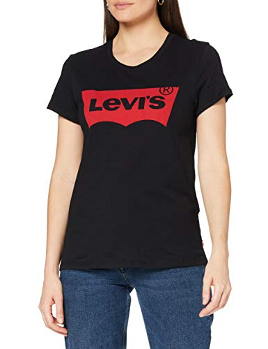 Levi's The Perfect Tee, Camiseta para Mujer, Negro (Large Batwing Black 201), Small