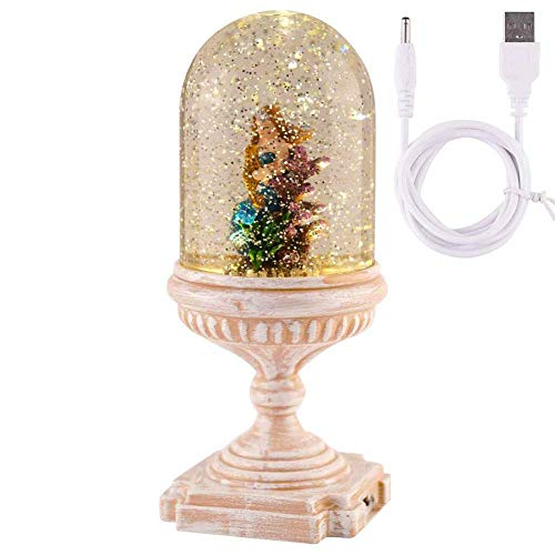 Mermaid Snow Globe, Water Glass Snow Globe Glitterdome with Water Glittering Swirling Battery Operated-USB Cord Powered for Valentine's Day, Birthday, Home Party Decoration