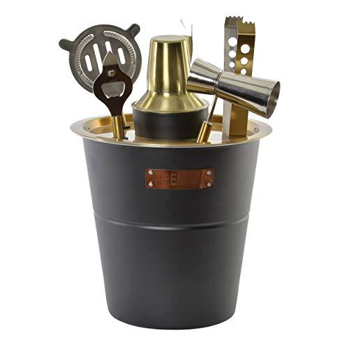 Set de Coctelería con Coctelera Profesional y Accesorios de Acero Inoxidable para Cócteles. 13X13x22cm - Hogar y Más