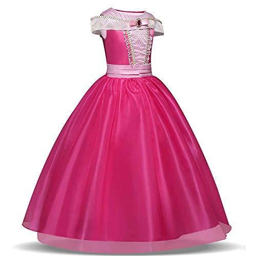 TXYFYP Niña Princesa Aurora Vestido Bella Durmiente Disfraz Cosplay Halloween Navidad Cumpleaños Disfraz Vestido Fit para Edad 3-10 Años - Rosa, 140cm