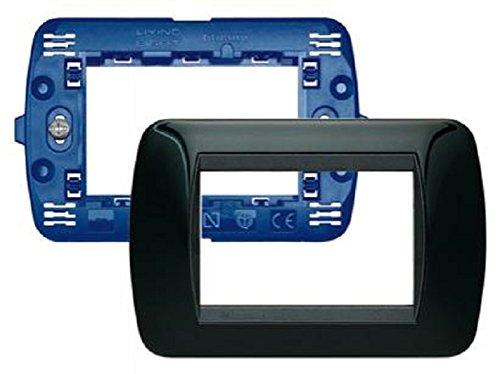 BTicino SL4803NRS Living Kit, Supporto e Placca a 3 Moduli, Nero