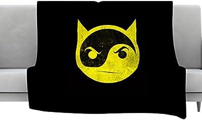 40 x 30 KESS InHouse Digital Carbine Make A Smile Black Yellow Fleece Baby Blanket