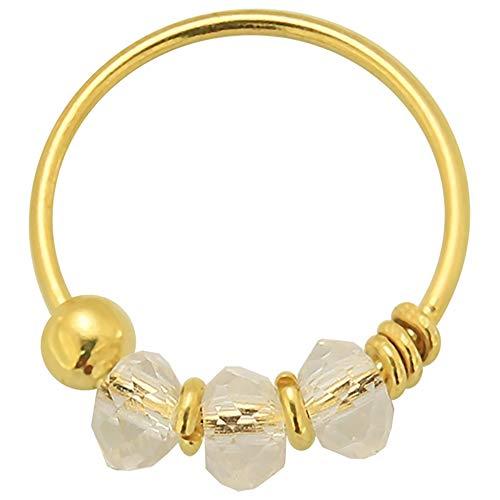 9K Solid Gelb Gold Triple White Kristall Perle 22 Gauge Hoop Nase Piercing Ring Schmuck