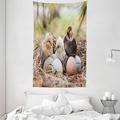 ABAKUHAUS Chicks Wandteppich & Tagesdecke, Kleine Hühner in Hay Eier, aus Weiches Mikrofaser Stoff Dreck abweichender Digitaldruck, 140 x 230 cm, Mehrfarbig
