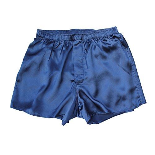 Jasmine Silk Herren 100% Seide Kurze/Pyjama Böden/Schlafanzughose Pyjamahose kurz │Thermoregulierende und atmungsaktive Funktions-Nachtwäsche Marine Extra Large (38-41)