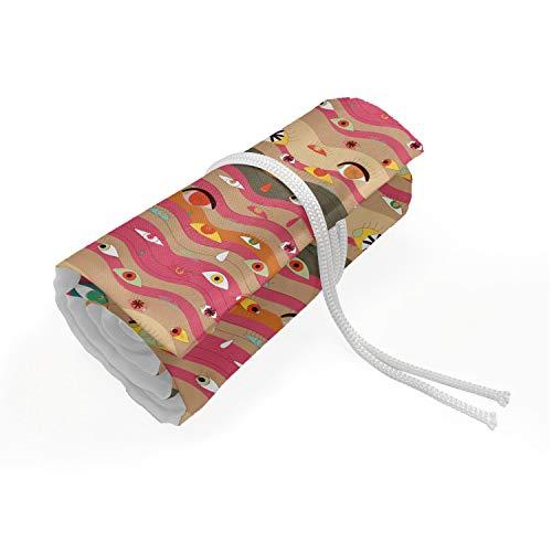 ABAKUHAUS Occhio Trousse à Crayon Enroulable, Righe ondulate Groovy Hippie, Organisateur de Crayon Durable & Portatif, 72 Trous, Multicolore