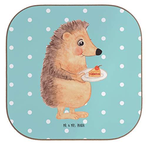 Mr. & Mrs. Panda geschenken, cadeaus, Vierkante onderzetters Egel met fluitje van een cent - Kleur Turquoise Pastel