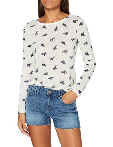 Springfield Fake Lino-c/96 Camiseta, Beige (Ivory 96), XS (Tamaño del Fabricante: XS) para Mujer