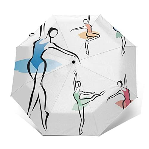 Paraguas Plegable Automático Impermeable Ejercicio Bailarina Bailarina de Ballet, Paraguas De Viaje Compacto Prueba De Viento, Folding Umbrella, Dosel Reforzado, Mango Ergonómico