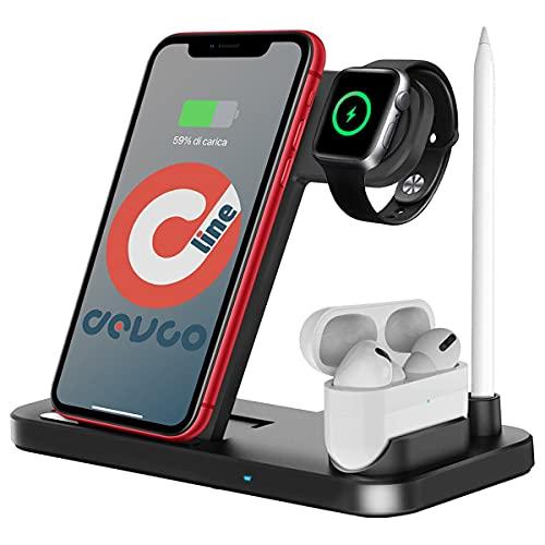 DEVCOLINE AT CW 4 IN1 - Estación soporte de carga inalámbrica 4 en 1 compatible con iPhone/iWatch/AirPods/iPencil cargador de carga rápida