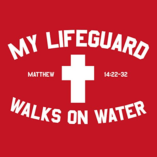 Christian T-shirt Lifeguard Kerusso Design,Red,X-Large