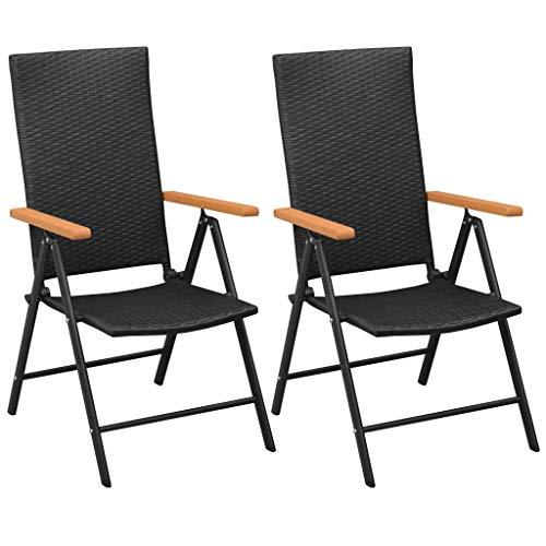 HUANGDANSP Sillas de jardín apilables 2 Unidades ratán sintético Negro Mobiliario Muebles de jardín Asientos de Exterior Sillas de jardín