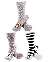 Fuzzy socks with animal faces on them
