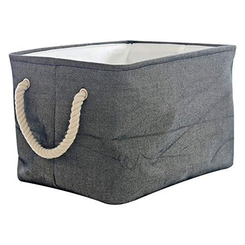 MOONMISUNI Almacenaje Caja Cesta de lona pesada plegable con asas de cuerda para libros y accesorios
