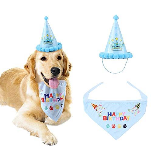 TEEPAO Dog Compleanno Cappello e Bandana Boy Set–Aolvo Regolabile Pet Dog Happy Birthday Hat & Cute Doggie Sciarpa Bandana Party Decorations–Prince & Happy Birthday